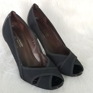 💖 Donald J Pliner Black Peep Toe Heels Pumps sz 9